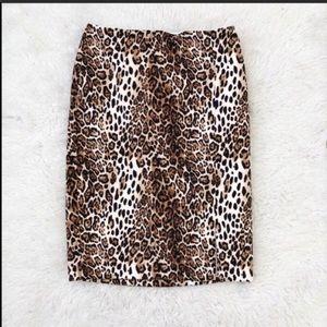 WHBM Leopard Print Pencil Skirt Size 2 Petite